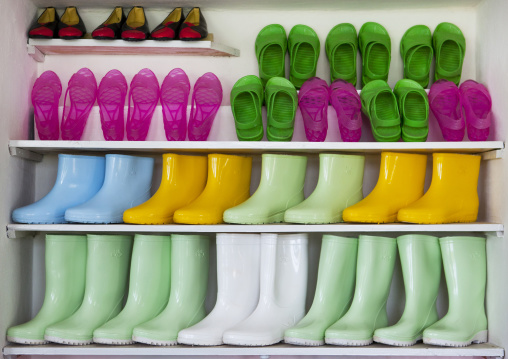 Plastic shoes and boots for sale in a village shop, South Hamgyong Province, Hamhung, North Korea