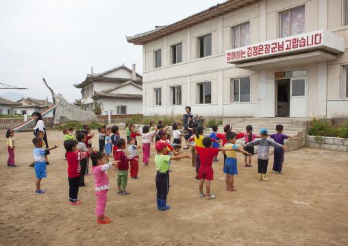 North Korean children making morning gymnastics at school, South Hamgyong Province, Hamhung, North Korea