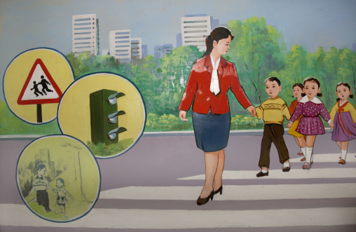 Propaganda poster depicting North Korean children learning to cross a road, North Hamgyong Province, Chongjin, North Korea