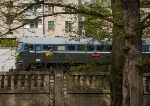 North Korean train passing in the city, Pyongan Province, Pyongyang, North Korea