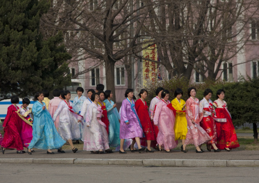 North Korean women in choson-ot, Pyongan Province, Pyongyang, North Korea