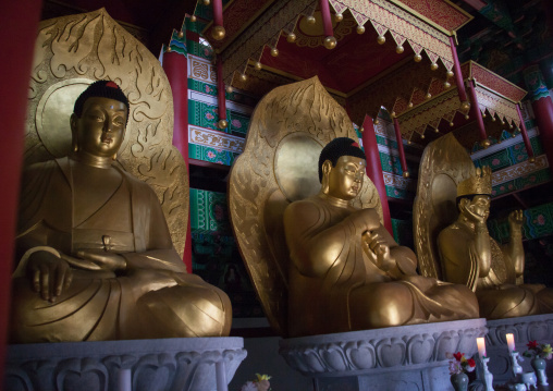 Buddha statues in Ryongthong temple founded by Korean chonthae sect of buddhism, Ogwansan, Ryongthong Valley, North Korea