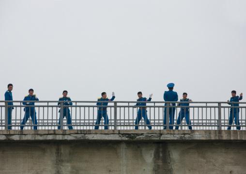 North Korean policemen training on a bridge, North Hwanghae Province, Kaesong, North Korea