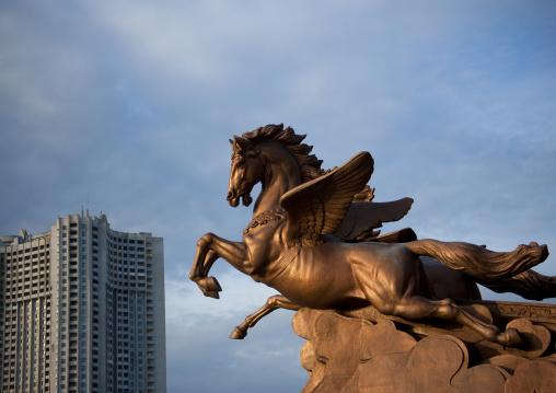 Chollima horse statue in the Mangyongdae children's palace, Pyongan Province, Pyongyang, North Korea