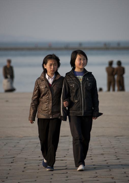North Korean girls having a walk on the jetty, Kangwon Province, Wonsan, North Korea