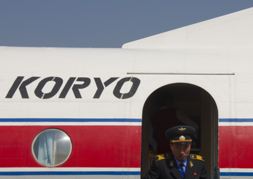 North Korean military going out of a air Koryo plane, Ryanggang Province, Samjiyon, North Korea