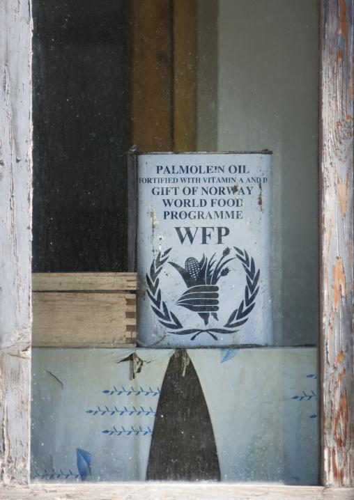 World food program palm oil can in a North Korean house, Ryanggang Province, Samjiyon, North Korea