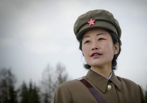Portrait of a North Korean guide in mount Paektu, Ryanggang Province, Samjiyon, North Korea