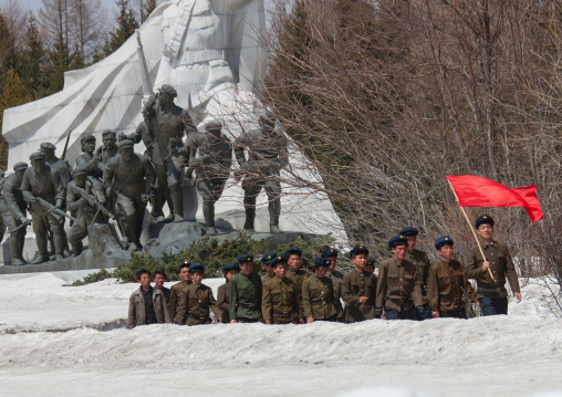 North Korean students walking on the steps of the nation's heroes in the Grand monument of lake Samji, Ryanggang Province, Samjiyon, North Korea