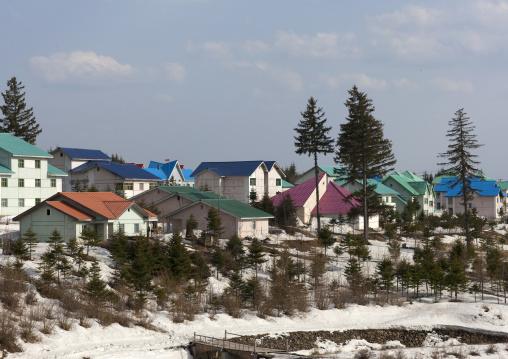 New apartment houses in the snow, Ryanggang Province, Samjiyon, North Korea