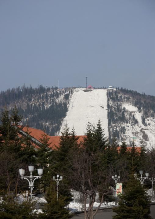 View of the skiing slopes in winter, Ryanggang Province, Samjiyon, North Korea