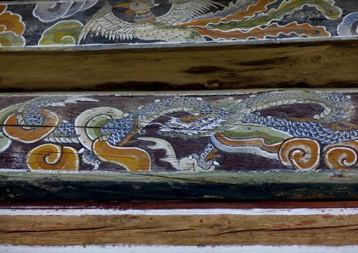 Dragon on a painted mural of kaesin sa temple, North Hamgyong province, Chilbosan, North Korea