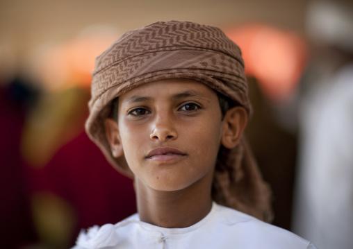 Portrait Of Bedouin Boy Wearing Turban, Sinaw, Oman