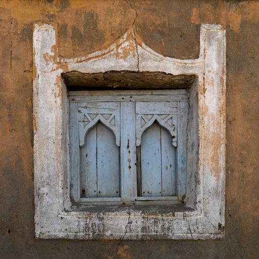 Blue Wooden Window In Arabic Style Of An Old House, Mirbat, Oman