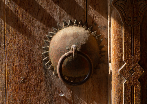 Omani wooden carved door knocker, Ad Dakhiliyah Region, Nizwa, Oman