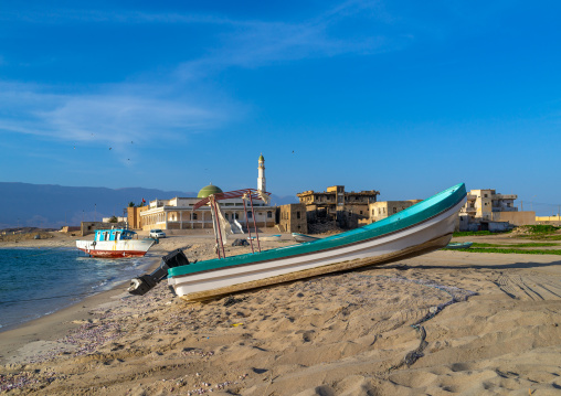 Fisherman boat in front of the old town, Dhofar Governorate, Mirbat, Oman