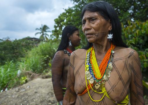 Panama, Darien Province, Bajo Chiquito, Women Of The Native Indian Embera Tribe
