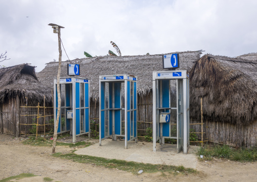 Panama, San Blas Islands, Mamitupu, Phone Booths In A Village