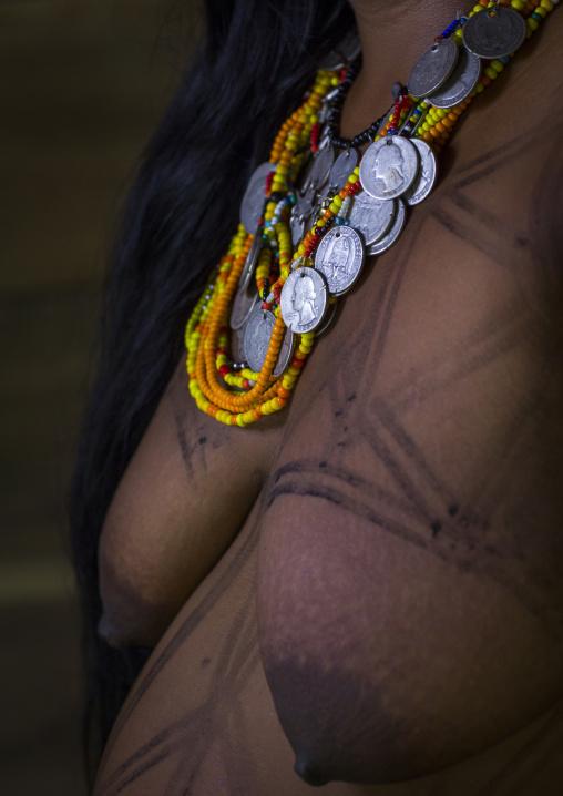 Panama, Darien Province, Bajo Chiquito, Woman Of The Native Indian Embera Tribe Close Up
