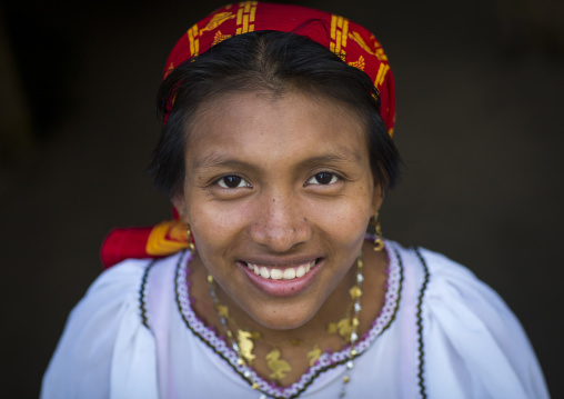 Panama, San Blas Islands, Mamitupu, Portrait Of A Smiling Kuna Tribe Woman