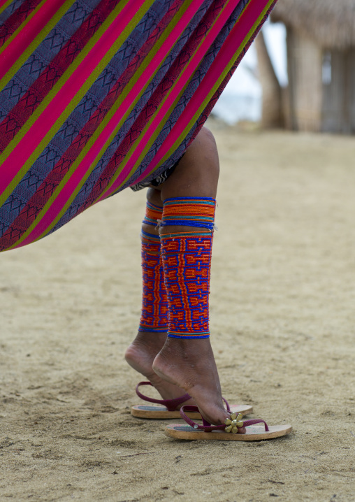 Panama, San Blas Islands, Mamitupu, Traditional Beaded Leg Ornaments Worn By A Kuna Woman Realxing In A Hammock