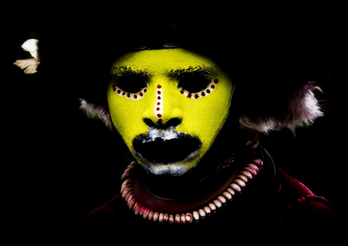 Portrait of a Huli tribe wigman  during a sing-sing ceremony, Western Highlands Province, Mount Hagen, Papua New Guinea
