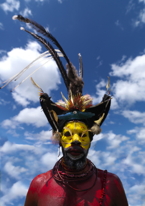 Portrait of a Huli tribe wigmen in traditional clothing during a sing-sing, Western Highlands Province, Mount Hagen, Papua New Guinea