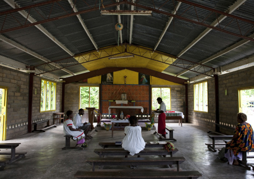 People inside a church, New Ireland Province, Langania, Papua New Guinea