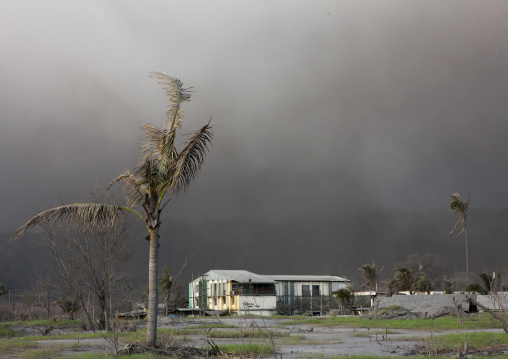 Hotel under a volcanic eruption in tavurvur volcano, East New Britain Province, Rabaul, Papua New Guinea