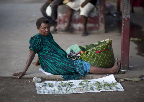 Woman selling vegetables at kokopo market, East New Britain Province, Rabaul, Papua New Guinea