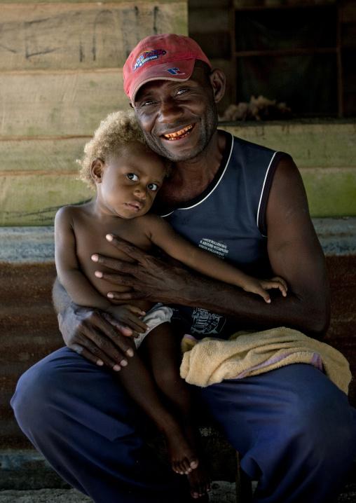 Father and his blonde son, New Ireland Province, Laraibina, Papua New Guinea