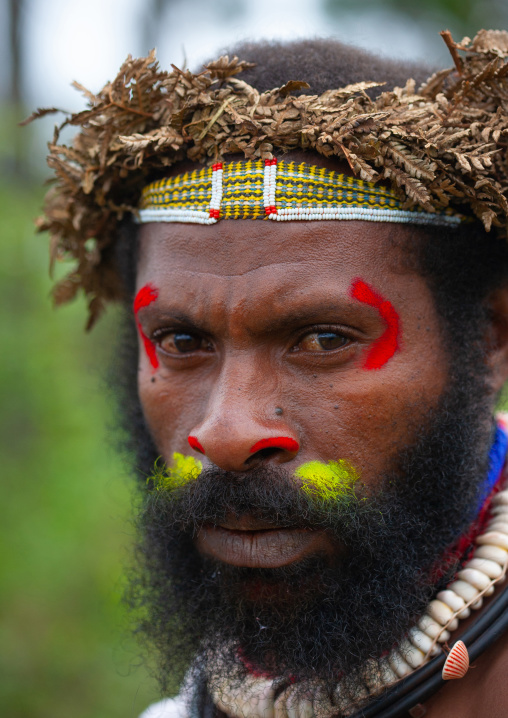 Portrait of a Chimbu tribe man with traditional makeup during a sing sing, Western Highlands Province, Mount Hagen, Papua New Guinea