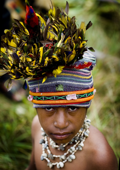 Highlander boy with traditional makeup during a sing-sing, Western Highlands Province, Mount Hagen, Papua New Guinea