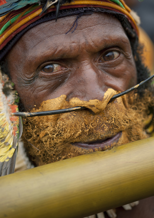 Man playing flute during a sing-sing, Western Highlands Province, Mount Hagen, Papua New Guinea