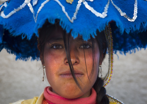 Young Woman In Traditional Clothing, Qoyllur Riti Festival, Ocongate Cuzco, Peru
