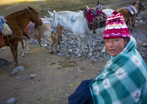 Peruvian Girl In The Cold Morning, Qoyllur Riti Festival, Ocongate Cuzco, Peru