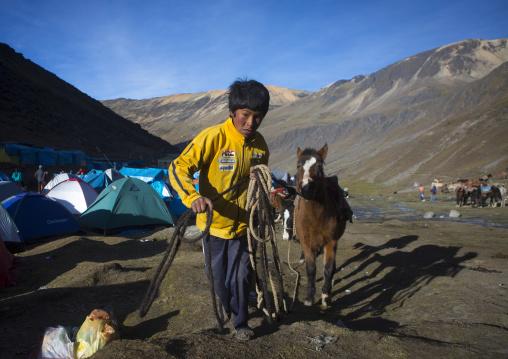 Child With His Horse During Qoyllur Riti Festival, Ocongate Cuzco, Peru