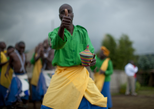 Traditional intore dancers during a folklore event in a village of former hunters, Lake Kivu, Ibwiwachu, Rwanda