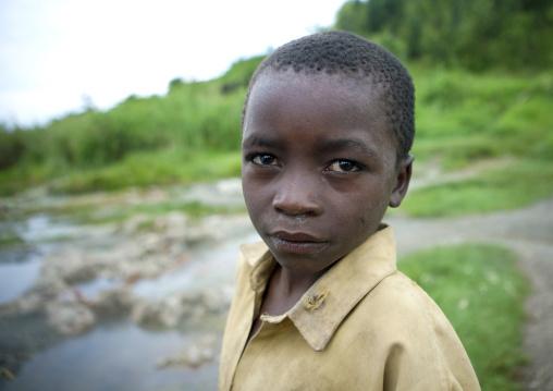 Kid in brasserie area in gisenye village - rwanda