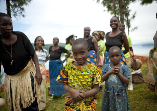 Rwandan women and girls performing a traditional dance, Lake Kivu, Nkombo, Rwanda