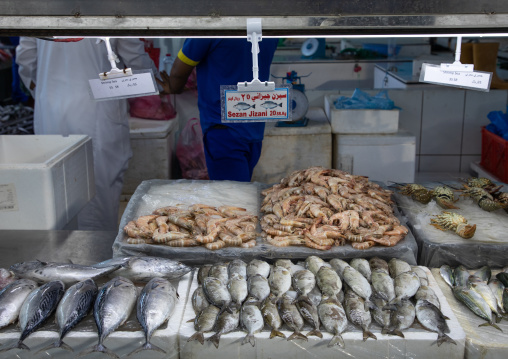 Market stall in the fish market, Mecca province, Jeddah, Saudi Arabia