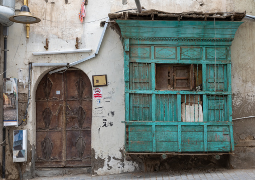 Wooden mashrabiya of an old house in al-Balad quarter, Mecca province, Jeddah, Saudi Arabia