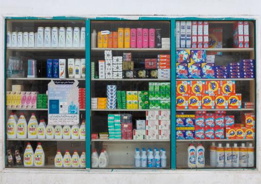 Hygiene products for sale in a shop, Jizan Province, Jizan, Saudi Arabia