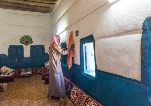 Saudi farmer in his traditional house, Najran Province, Najran, Saudi Arabia