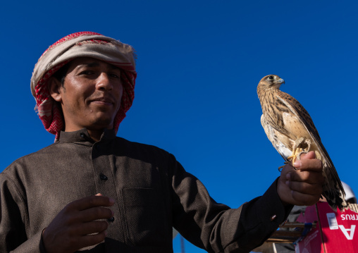 Saudi man with a falcon perching on hand in a bird market, Najran Province, Najran, Saudi Arabia