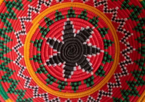 Colorful traditional basketry detail, Asir province, Abha, Saudi Arabia