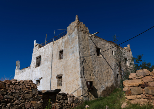 Old traditional house against blue sky, Asir province, Abha, Saudi Arabia