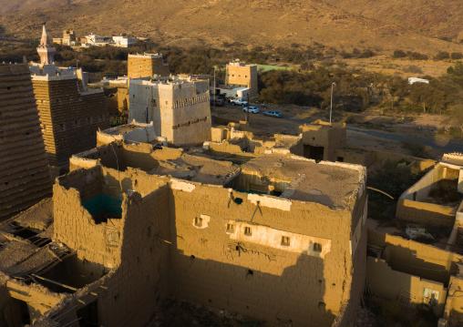 Aerial view of an old village with traditional mud houses, Asir province, Ahad Rufaidah, Saudi Arabia