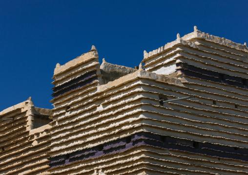 Traditional clay and silt homes in a village, Asir province, Sarat Abidah, Saudi Arabia