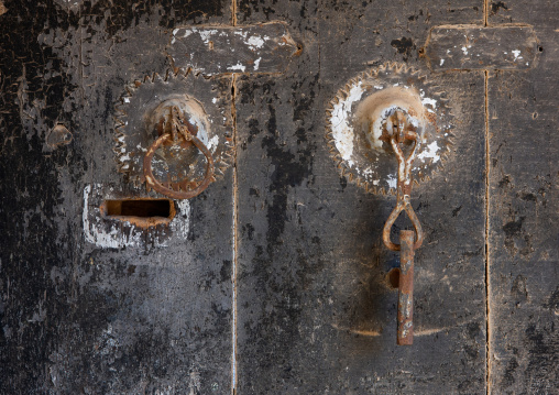 Door knockers in rijal alma traditional village, Asir province, Sarat Abidah, Saudi Arabia